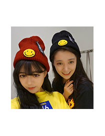 Lovely Dark Blue Smiling Face Shape Pattern Decorated Knitted Hat