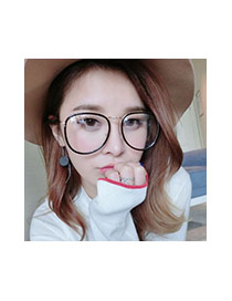 Fashion Black Irregular Frame Decorated Color Matching Thin Leg Simple Glasses