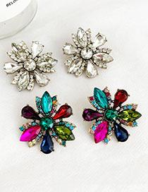 Aretes De Diamantes Con Flor De Aleación