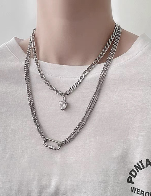 Collar Doble Corazón De Amor De Acero Titanio