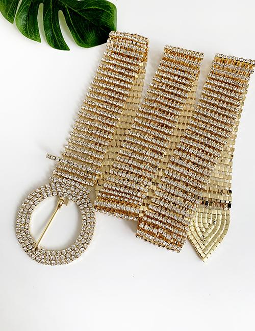 Fashion Gold Alloy Diamond Round Belt