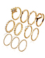 Fashion Gold Color Heart Shape Design Ring Sets(11pcs)