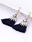 Fashion Navy Waterdrop Shape Decorated Tassel Earrings