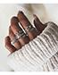 Fashion Silver Crown-set Diamond Branch Joint Ring Set Of 7