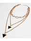 Fashion Gold Multilayer Alloy Triangle Necklace