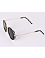 Fashion Black Alloy Resin Round Sunglasses