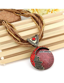 Handmade Watermelon Red Lost Love Alloy Beaded Necklaces