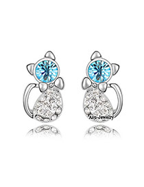 Moving sea blue Blue Earrings Alloy Crystal Earrings
