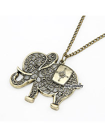 Collar Bronze Hollow Out Elephant