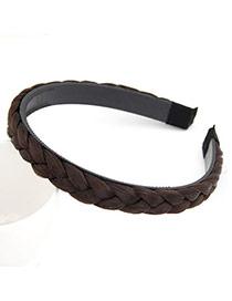 Korean personality fashion weave periwig design hair band hair accessories (Dark Coffee)