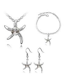 Beautiful White Set-Star Fish Alloy Crystal Sets