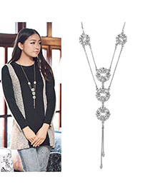 Baroque Silver Color Double Layer Flower Pendant Alloy Lariat Y Necklaces