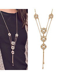 Mobile Gold Color Double Layer Flower Pendant Alloy Lariat Y Necklaces
