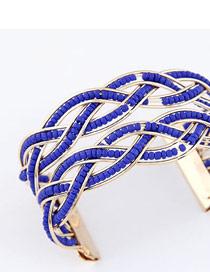 Attractive Dark Blue Bohemia Beads Style Alloy Fashion Bangles