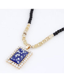 Polaris Dark Blue Bling Square Design Alloy Beaded Necklaces