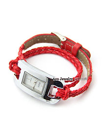 Shade Red Hollow Out Movement Ladies Watches