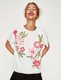Trendy White Flower Pattern Decorated Short Sleeves T-shirt