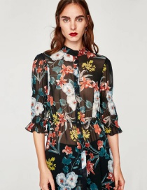 Blusa Larga De Moda Estampada De Flores