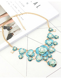 Fashion Blue Flower&pearls Decorated Necklace