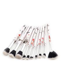 (10pcs)juego De Brochas De Maquillaje Estampadas De Flores