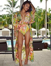 Juego De Blusa De Gasa+bikini Estampado De Flores