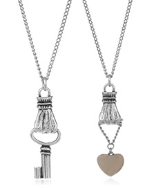 Fashion Silver Color Key&heart Shape Decorated Necklace(2pcs)