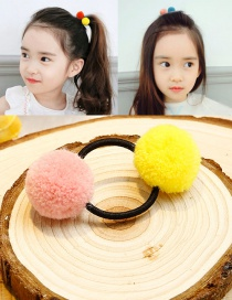 Lovely Yellow+pink Fuzzy Balls Decorated Hair Band