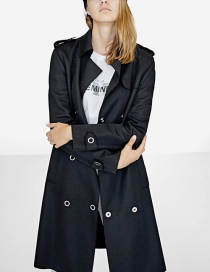 Trendy Black Pure Color Decorated Long Sleeves Coat