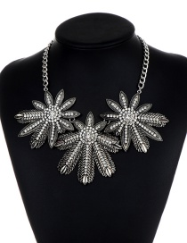 Fashion Silver Color Flowers Shape Decorated Necklace