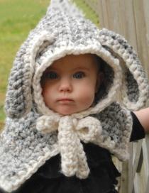 Cute Gray Rabbit Ear Shape Decorated Hat