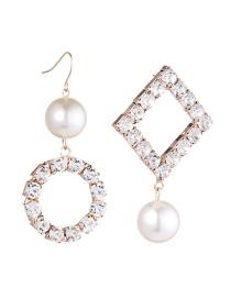 Aretes Asimetricos De Perla De Moda