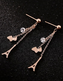 Fashion Rose Gold+black Hollow Out Design Round Earrings