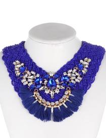 Fashion Sapphire Blue Tassel Decorated Necklace