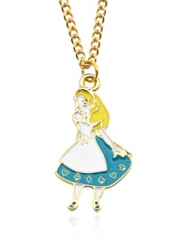 Fashion Blue Girl Pendant Decorated Necklace