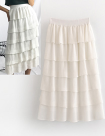Falda Apilada De Color Puro De Moda