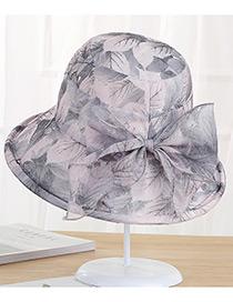 Sombrero Estampado De Hojas Con Moño De Moda
