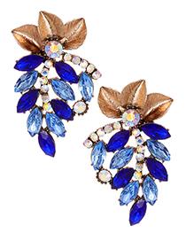 Fashion Sapphire Blue Flower Shape Decorated Earrings