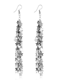 Elegant Silver Color Star Shape Design Long Tassel Earrings