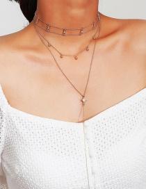 Collar De Multicapa Con Estrella De Moda