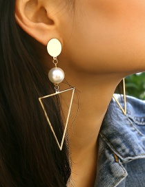 Aretes Triangulares Huecos Con Perla