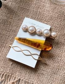 Fashion Twilight (set Of 3) Imitation Pearl Hairpin Geometry Hair Clip