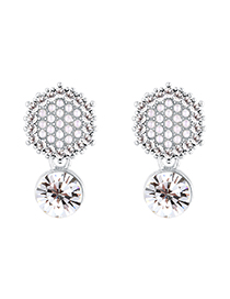 Pendientes De Tuercas De Plata Con Perlas S925 De Oro Chapado En Perlas De Diamante Hexagonal Completo