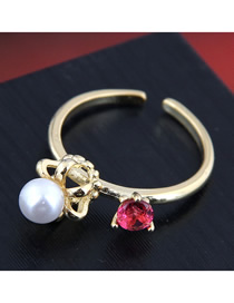 Anillo Abierto De Corona Con Perlas Y Diamantes