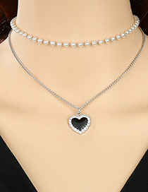 Collar Love Heart Con Perlas Y Diamantes