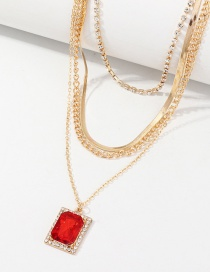 Collar De Múltiples Capas Con Diamantes Y Colgantes Rectangulares De Rubí.