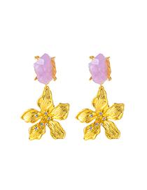 Fashion Purple Floral Metal And Diamond Geometric Earrings