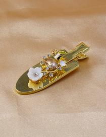 Pequeña Pala De Resina Brillante Flor De Diamantes De Imitación Horquilla