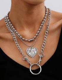 Collar De Múltiples Capas Con Cadena De Cuentas En Relieve En Forma De Corazón
