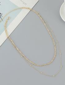 Collar Doble De Cadena De Cuentas Redondas Chapadas En Oro Verdadero