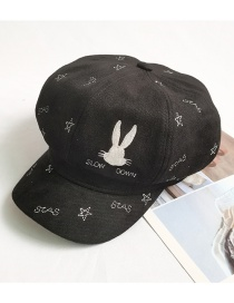 Fashion Black Bunny Pentagram Embroidery Beret Octagonal Hat